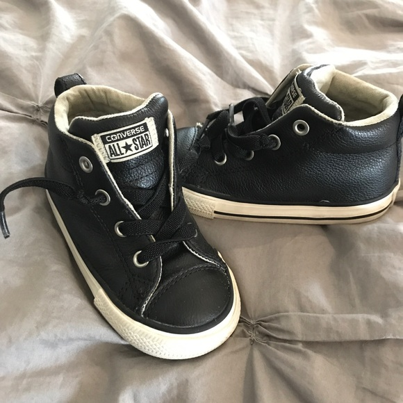 Converse Other - Black Leather Chuck Taylor Converse Toddler Shoes 265d39075